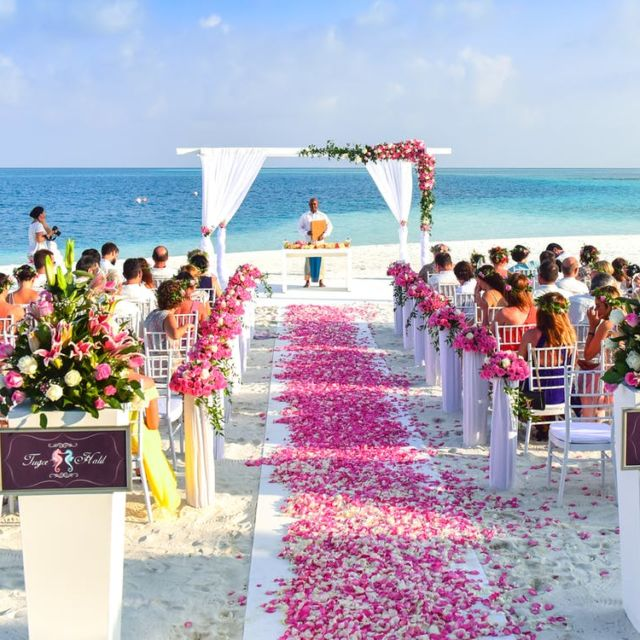 a wedding ceremony set on the beach
