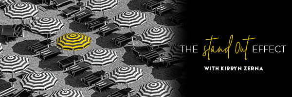 "Black and white umbrella with the words ""The Stand Out Effect"""